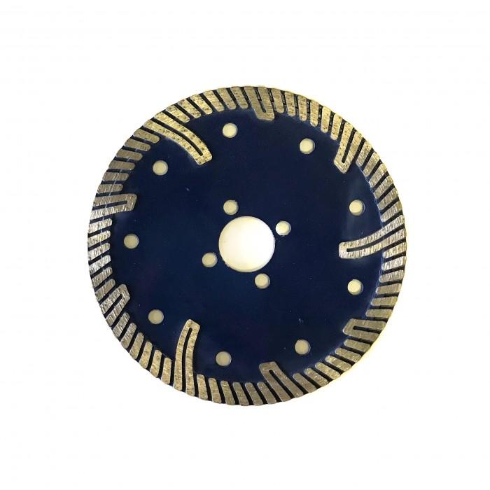 Отрезной диск по граниту D125*22,2*10*2.4, Турбо закругленый протектор синий