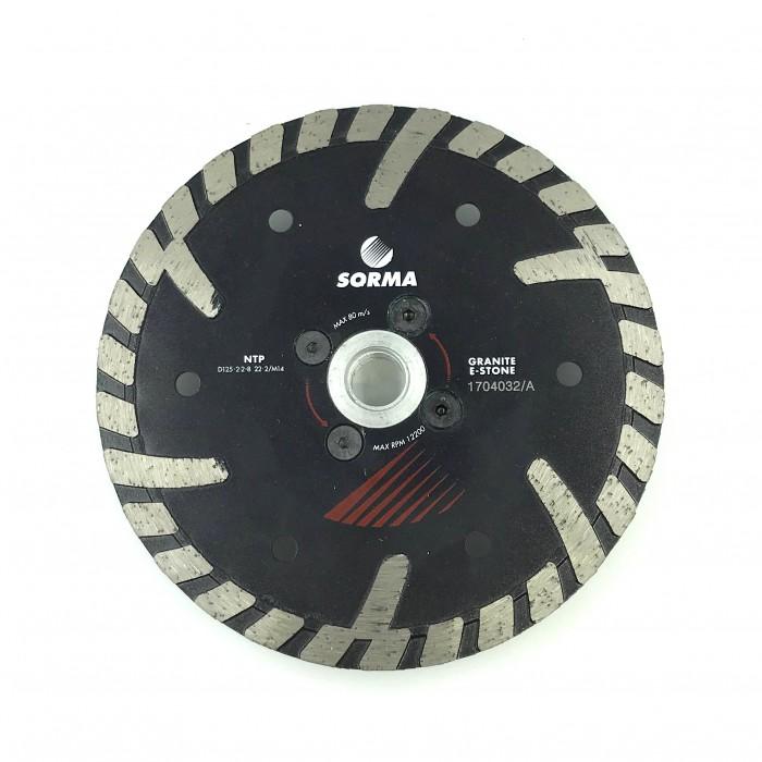 Отрезной диск D125*2,2*8 M14 с фланцем, NTP турбо с протектором по граниту Sorma