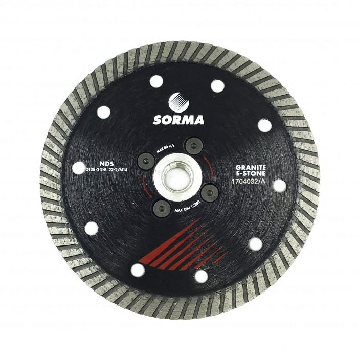 Отрезной диск D125*2,2*8 M14 с фланцем, NDS турбо по граниту Sorma
