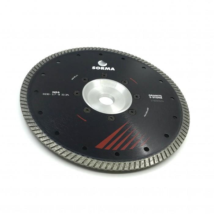 Отрезной диск D230*2,7*8 22.2 с фланцем, NDS турбо по граниту Sorma