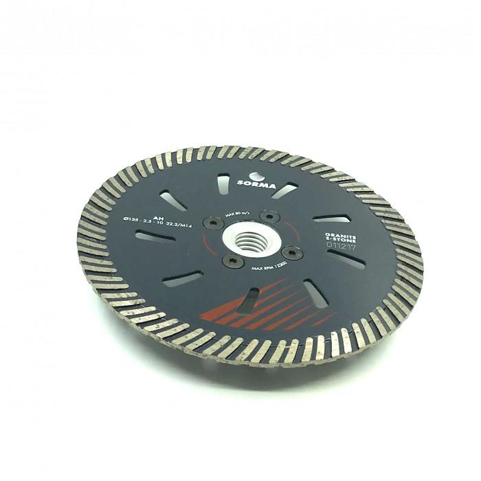 Отрезной диск D125*2,5*10 M14 с фланцем, AH турбо с охлаждением по граниту Sorma