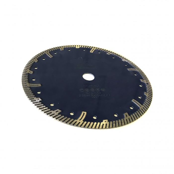 Отрезной диск по граниту D230*22,2*10*2.8, Турбо закругленый протектор синий