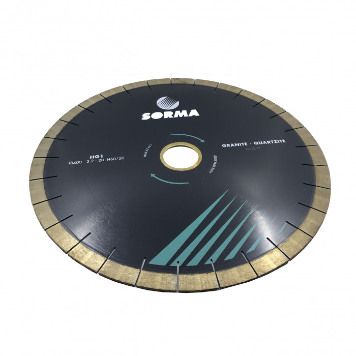Отрезной диск D400*60/50, H20, кварцит/гранит, бесшумный